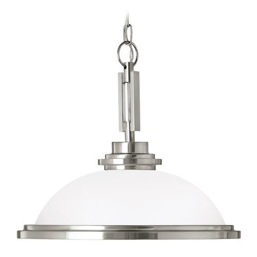 Sea Gull Lighting Sea Gull Lighting Winnetka Brushed Nickel LED Pendant Light with Bowl / Dome Shade 65660EN3-962