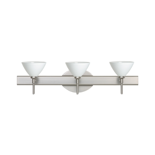 Besa Lighting Modern Bathroom Light with White Glass in Satin Nickel Finish 3SW-174307-SN