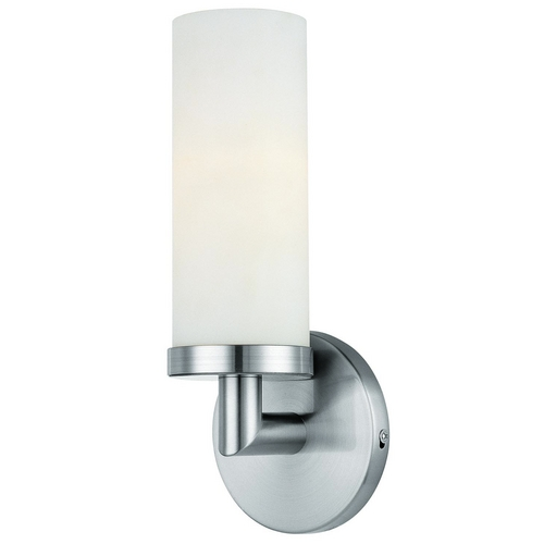 Access Lighting Modern Sconce with White Glass in Brushed Steel Finish 20441-BS/OPL