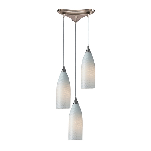 Elk Lighting Modern Multi-Light Pendant Light with White Glass and 3-Lights 522-3WS
