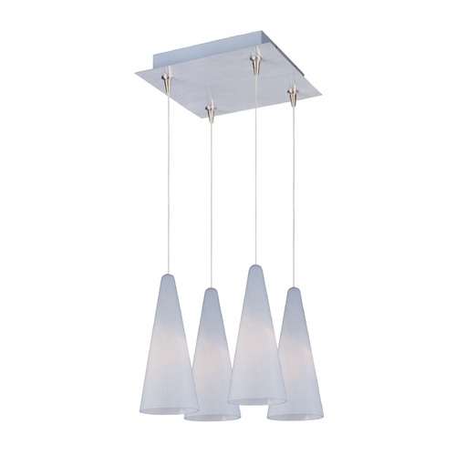 ET2 Lighting Modern Low Voltage Multi-Light Pendant Light with White Glass and 4-Lights E94728-101SN