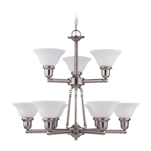 Sea Gull Lighting Chandelier with White Glass in Brushed Nickel Finish 31062-962