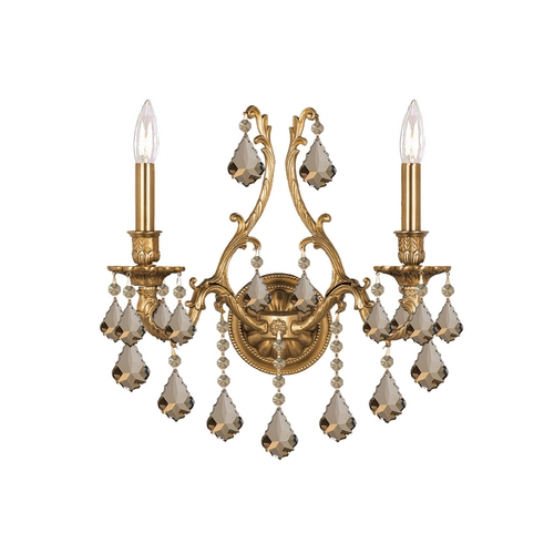 Crystorama Lighting Crystal Sconce Wall Light in Aged Brass Finish 5142-AG-GT-MWP