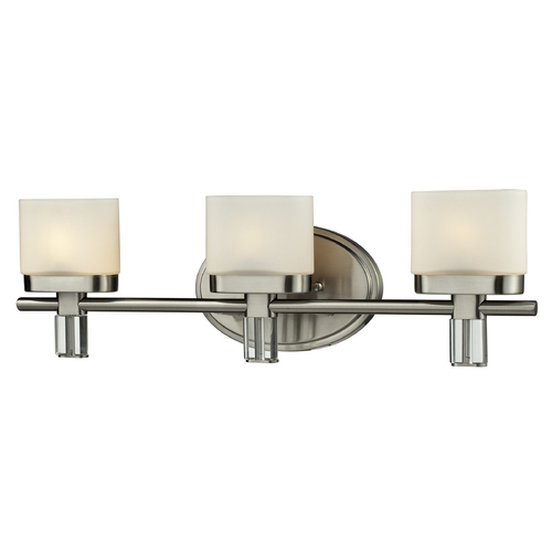 Elk Lighting Modern Bathroom Light with White Glass in Satin Nickel Finish 84092/3