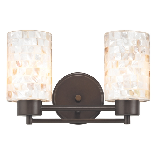 Design Classics Lighting Bathroom Light with Mosaic Glass in Bronze Finish 702-220 GL1026C