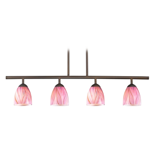 Design Classics Lighting Modern Island Light with Pink Glass in Neuvelle Bronze Finish 718-220 GL1004MB