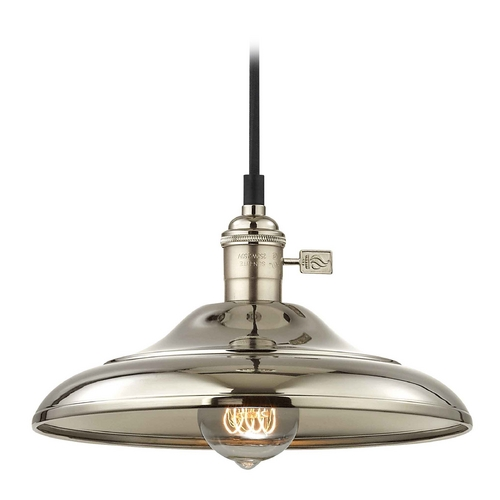 Design Classics Lighting Retro Hoyt Polished Nickel Curved Shade Mini-Pendant Light  CA1-15 SHD1-15
