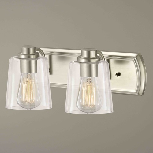 Design Classics Lighting Industrial 2-Light Bathroom Light with Clear Glass in Satin Nickel 1202-09 GL1027-CLR