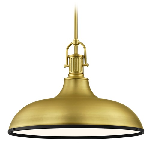 Design Classics Lighting Brass Large Industrial Pendant Light with Black Accents 18.38-Inch Wide 1764-12 SH1779-12 R1779-07