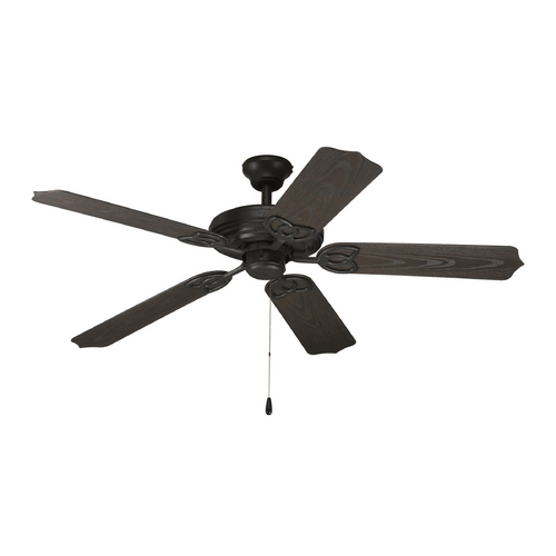 Progress Lighting Progress Ceiling Fan Without Light in Forged Black Finish P2502-80