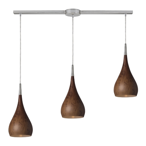 Elk Lighting Modern Multi-Light Pendant Light with Wood Shades and 3-Lights 31341/3L-BW