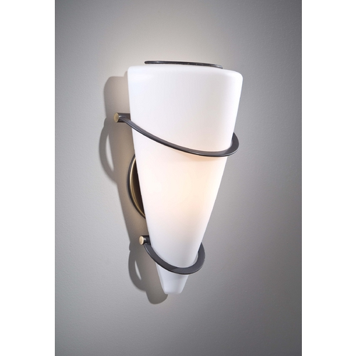 Holtkoetter Lighting Holtkoetter Modern Sconce Wall Light with White Glass in Hand-Brushed Old Bronze Finish 2969 HBOB SW