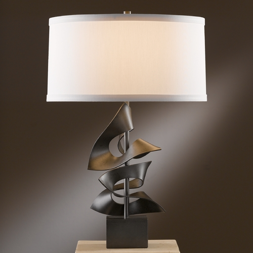 Hubbardton Forge Lighting Hubbardton Forge Lighting Gallery Dark Smoke Table Lamp with Drum Shade 273050-07-423