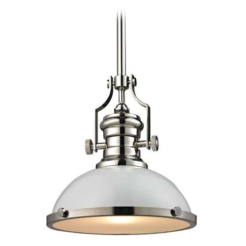 Elk Lighting Elk Lighting Chadwick Gloss White/polished Nickel Pendant Light with Bowl / Dome Shade 66515-1