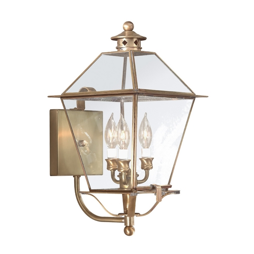 Troy Lighting Outdoor Wall Light with Clear Glass in Natural Aged Brass Finish BCD8954NAB