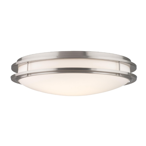 Philips Lighting Modern Flushmount Light with White Glass in Satin Nickel Finish F245836U