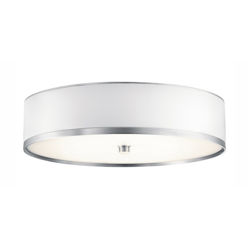 Kichler Lighting Kichler Flushmount Light with White in Brushed Aluminum Finish 10804BA