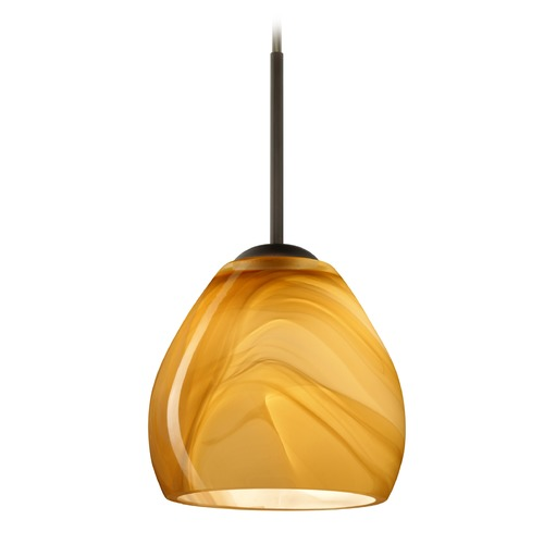 Besa Lighting Besa Lighting Bolla Bronze Mini-Pendant Light with Bowl / Dome Shade 1BT-4122HN-BR