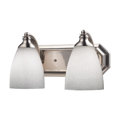 Elk Lighting Bathroom Light with Art Glass in Satin Nickel Finish 570-2N-WH