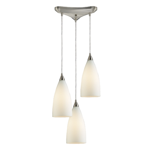 Elk Lighting Modern Multi-Light Pendant Light with White Glass and 3-Lights 2580/3