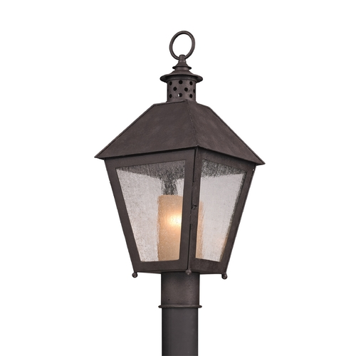 Troy Lighting Post Light with Clear Glass in Centennial Rust Finish P3295