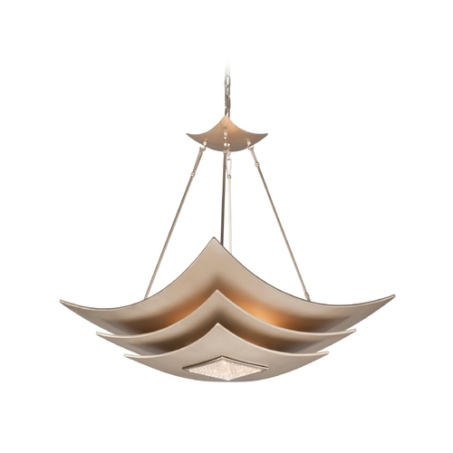 Corbett Lighting Modern Pendant Light with White Glass in Tranquility Silver L Finish 155-46