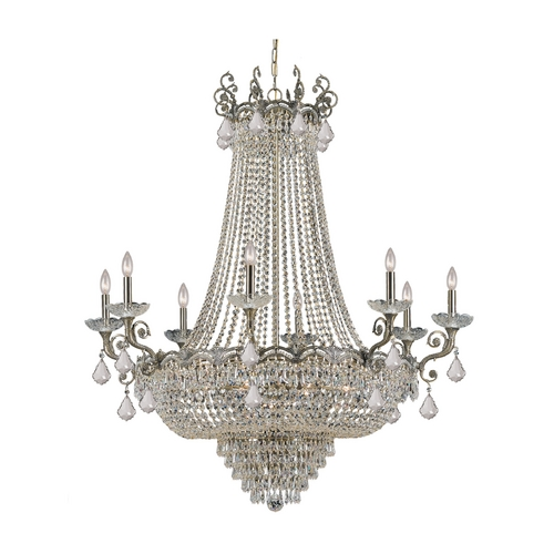 Crystorama Lighting Crystal Chandelier in Historic Brass Finish 1488-HB-CL-S