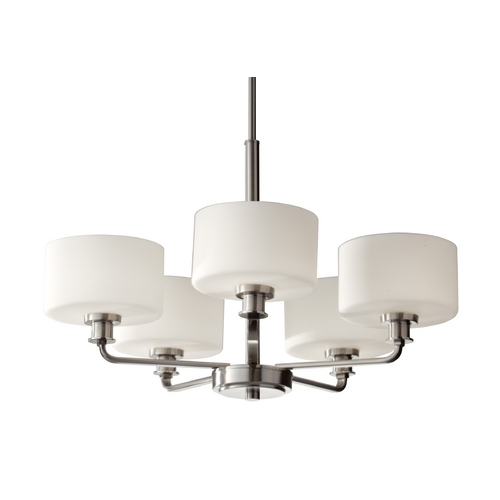 Feiss Lighting Modern Chandelier with White Glass in Brushed Steel Finish F2773/5BS