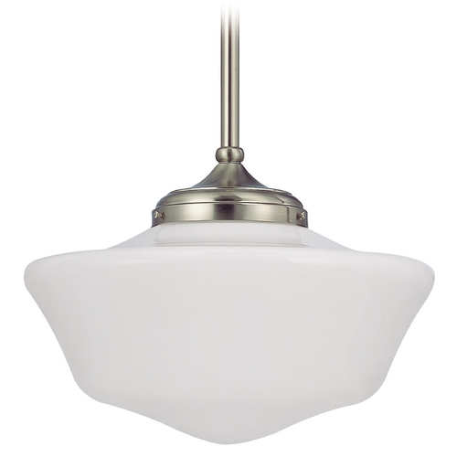 Design Classics Lighting 16-Inch Satin Nickel Schoolhouse Pendant Light FA6-09 / GA16