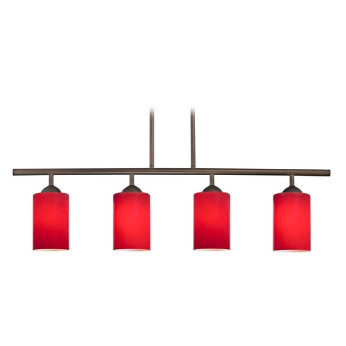 Design Classics Lighting Modern Island Light with Red Glass in Neuvelle Bronze Finish 718-220 GL1008C