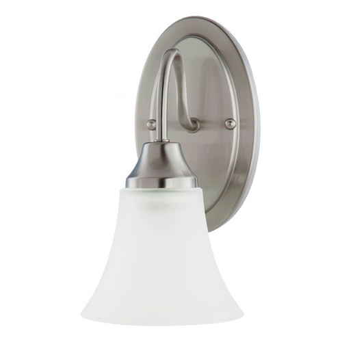 Sea Gull Lighting Sconce Wall Light with White Glass in Brushed Nickel Finish 41806-962