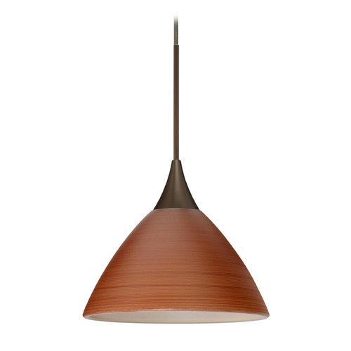 Besa Lighting Besa Lighting Domi Bronze LED Mini-Pendant Light with Bell Shade 1XT-1743CH-LED-BR