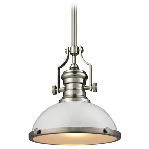 Elk Lighting Elk Lighting Chadwick Gloss White/satin Nickel Pendant Light with Bowl / Dome Shade 66525-1