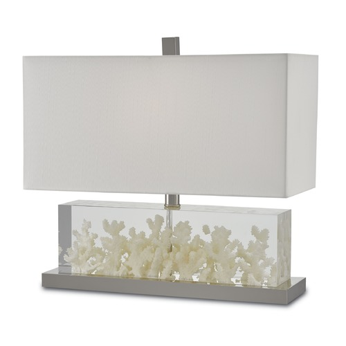 Currey and Company Lighting Currey and Company Raine Off-White/clear/polished Nickel Table Lamp with Rectangle Shade 6000-0029