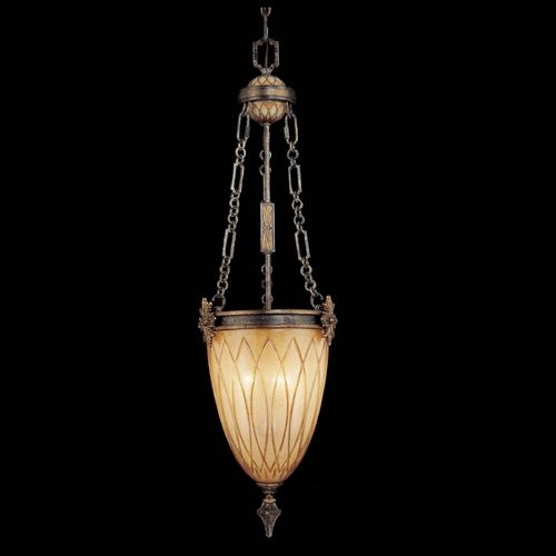 Metropolitan Lighting Pendant Light with Amber Glass in Aged Patina / Gold Leaf Finish N6494-270