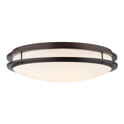Philips Lighting Modern Flushmount Light with White Glass in Merlot Bronze Finish F245870U