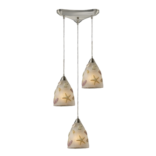 Starfish Sea Shells Glass Multi Light Pendant Light
