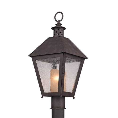 Troy Lighting Post Light with Beige / Cream Glass in Centennial Rust Finish PF3295