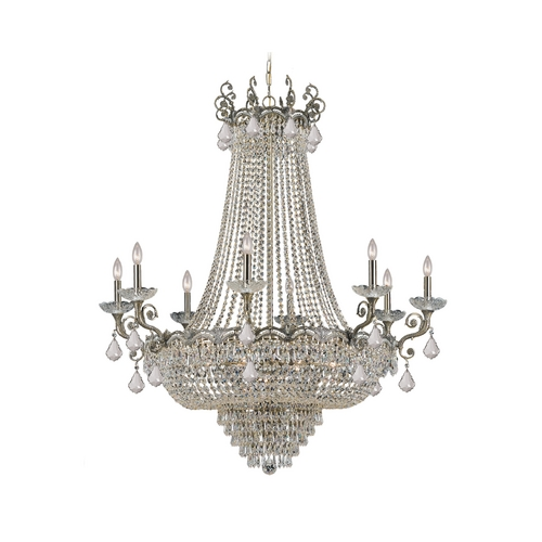Crystorama Lighting Crystal Chandelier in Historic Brass Finish 1488-HB-CL-SAQ