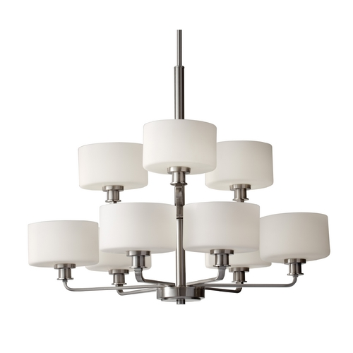 Feiss Lighting Modern Chandelier with White Glass in Brushed Steel Finish F2774/6+3BS
