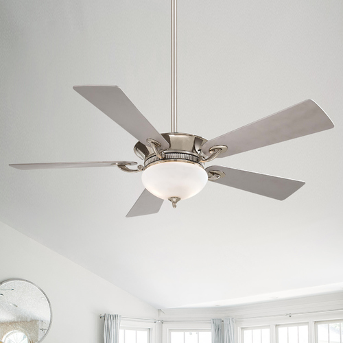 Minka Aire 52-Inch Ceiling Fan with Light with White Glass in Polished Nickel with Silver Blades Finish F701-PN