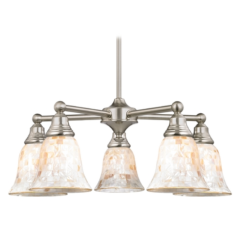 Design Classics Lighting Chandelier with Mosaic Glass in Satin Nickel Finish 597-09 GL9222-M