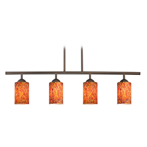Design Classics Lighting Modern Island Light with Multi-Color Glass in Neuvelle Bronze Finish 718-220 GL1012C