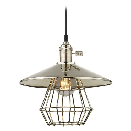 Design Classics Lighting Retro Hoyt Polished Nickel Cone Shade Mini-Pendant Light With Cage CA1-15 SHD2-15 CAGE1-15