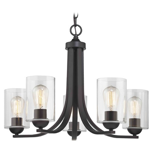 Design Classics Lighting Bronze Chandelier with Clear Cylinder Glass and 5-Lights 584-220 GL1040C