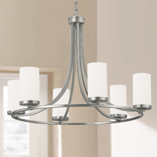 Design Classics Lighting White Glass Chandelier Satin Nickel 6-Lt 1850-09/WH