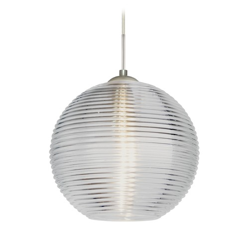 Besa Lighting Besa Lighting Kristall Satin Nickel LED Pendant Light with Globe Shade 1JT-461600-LED-SN