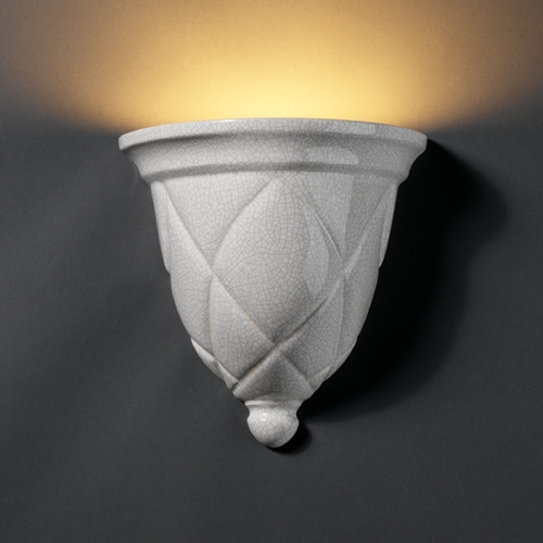 Justice Design Group Sconce Wall Light in White Crackle Finish CER-1480-CRK