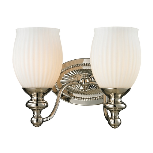 Elk Lighting Bathroom Light with White Glass in Polished Nickel Finish 11641/2