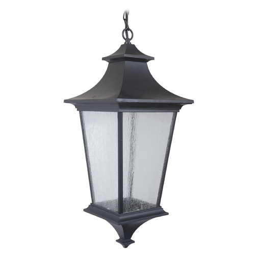 Craftmade Lighting Seeded Glass LED Outdoor Hanging Light Black Craftmade Lighting Z1371-11-LED